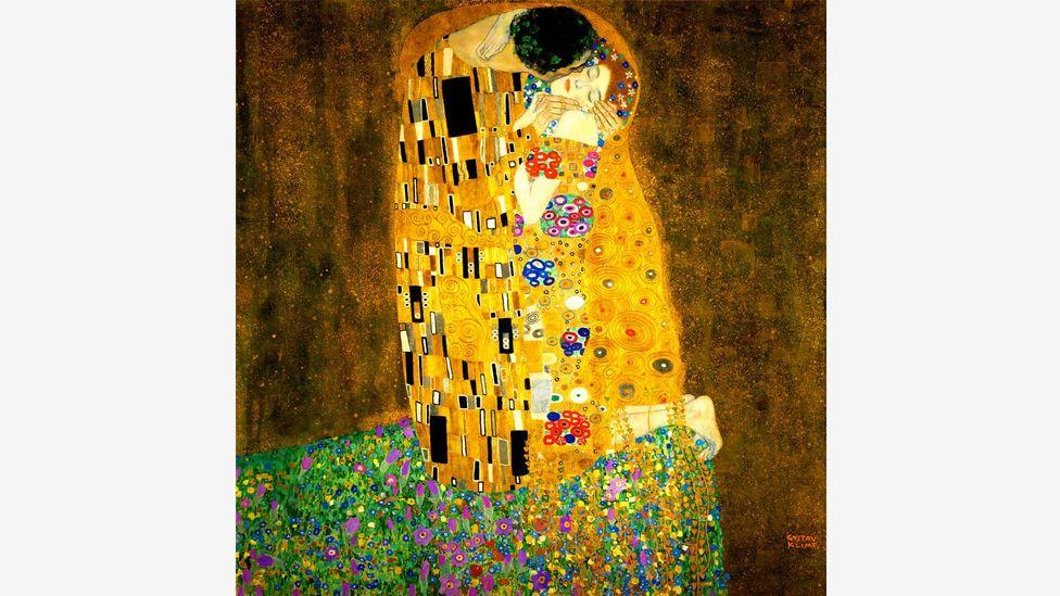 Klimt's famous Kiss contains a harsh, violent reality hidden beneath its romantic, gilded surface (Credit: Alamy)