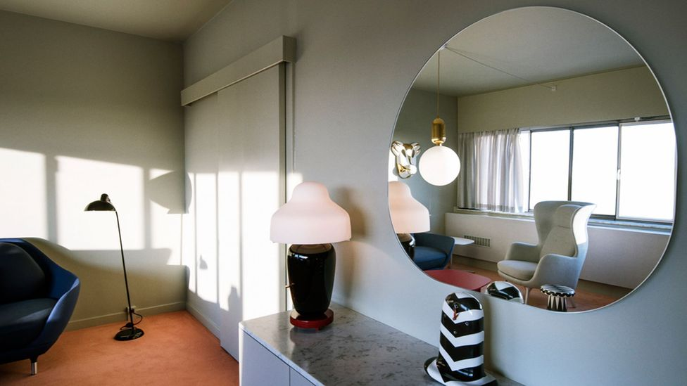 Modernist lighting, furniture and other details create a strong look in the hotel's interior (Credit: Fritz Hansen)