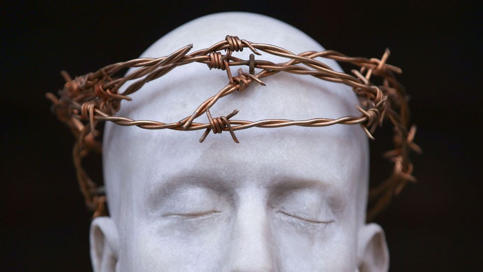 A statue of Jesus Christ, created by British artist Mark Wallinger