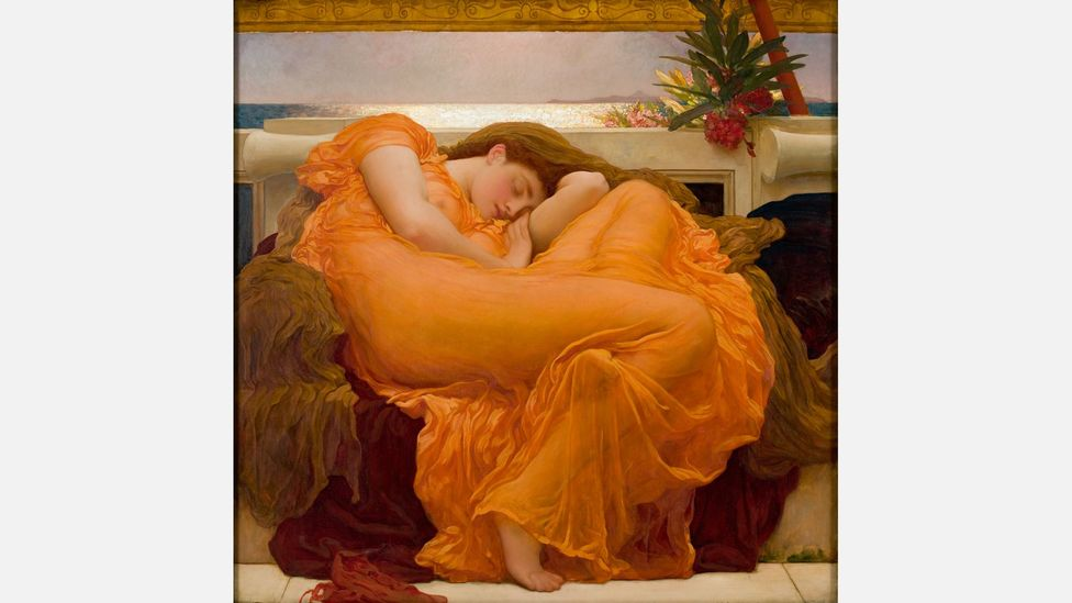 Flaming June includes a toxic oleander branch, which can symbolise the link between sleep and death (Credit: Museo de Arte de Ponce. The Luis A. Ferré Foundation, Inc.)