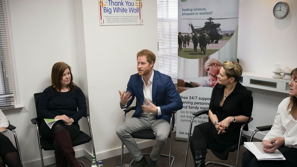 Last year, Prince Harry visited Big White Wall, an online mental health service in London (Credit: Getty Images)