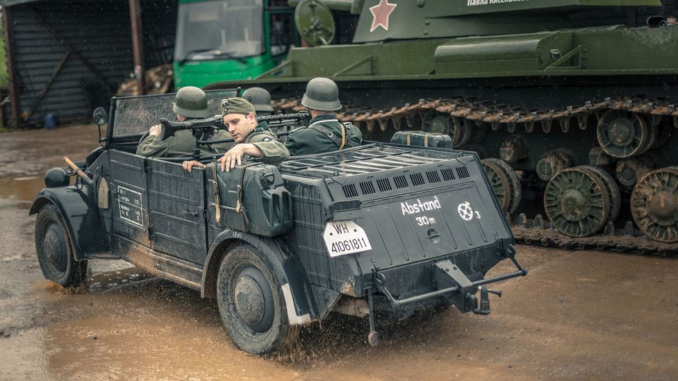 The re-enactments also include rescued German vehicles, like this Kubelwagen, a German military jeep (Credit: Anton Skyba)