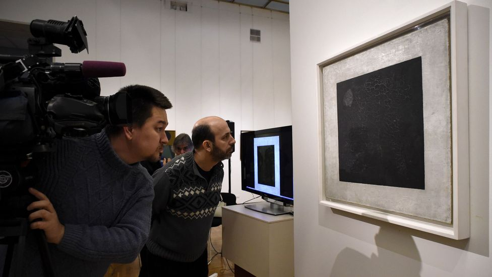 Kazimir Malevich painted his Black Square in 1915 – in 2015 microscopic examination revealed a racist joke within (Credit: Alamy)