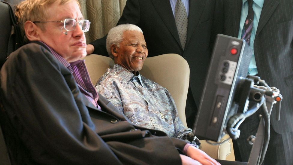 Stephen Hawking's career spanned beyond academia, into motion pictures and beyond - he's pictured here with Nelson Mandela (Credit: Getty Images)