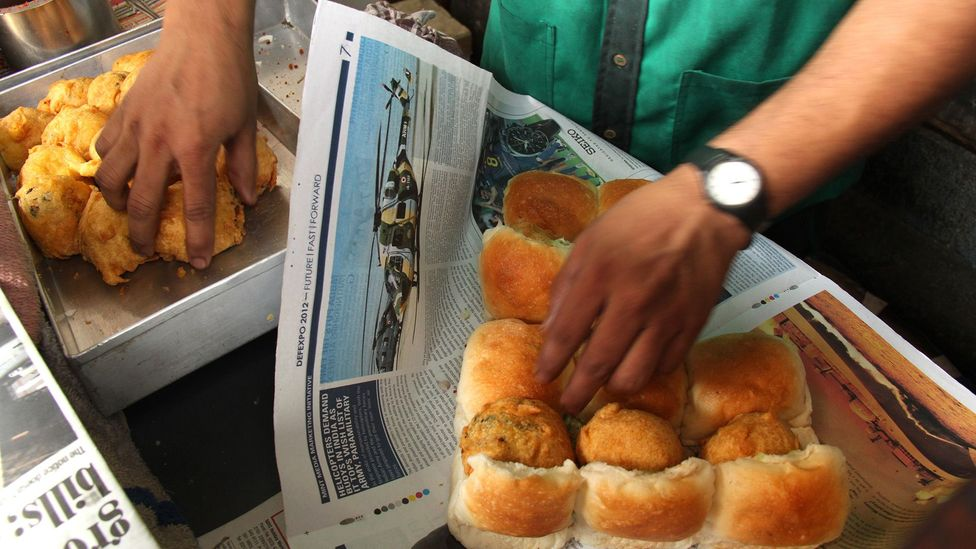 Vada pav was first invented as a quick and inexpensive snack for Mumbai's textile mill workers (Credit: Charukesi Ramadurai)