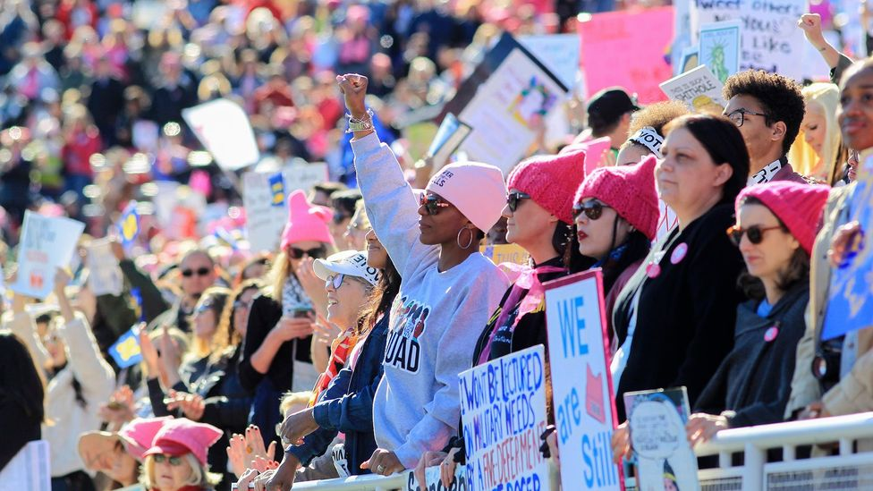 Participants gather in Las Vegas in January to rally for women's rights issues, one year after the historic Women's March (Credit: Getty Images)