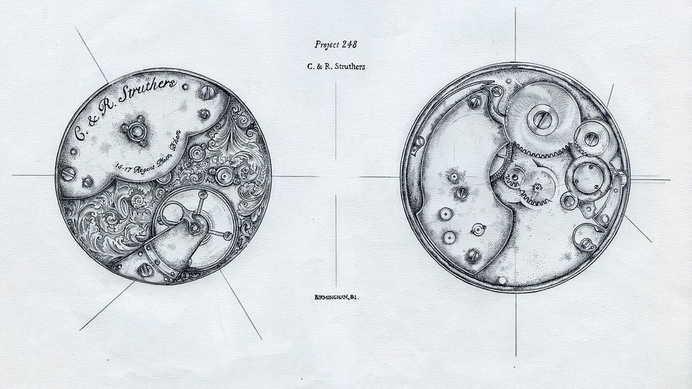A drawing for one of the Struthers' watch designs (Credit: Chris Baraniuk)