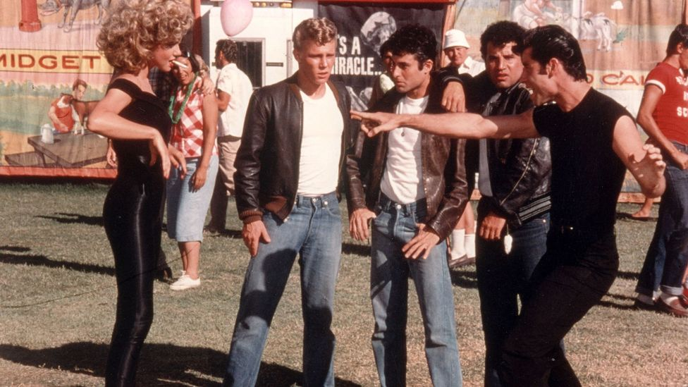 In Grease, the wolf-whistle pops up to help create the sexy 1950s mood (Credit: Alamy)