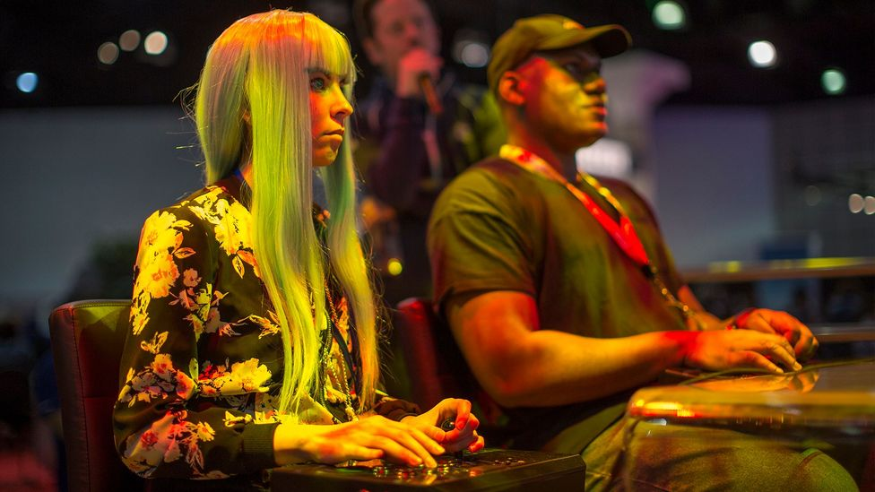 The gaming industry earns more than film and was worth $36 billion last year. Here, players compete at the E3 expo in Los Angeles last June (Credit: Getty Images)