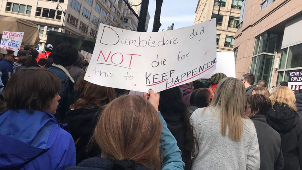 Placards referencing Potter appeared in rallies across the US – and around the world (Credit: Tracy Tran)