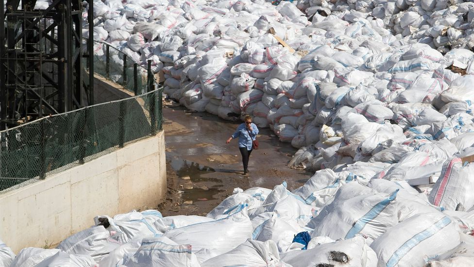 When the waste crisis began in 2015 it wasn't long until a river of rubbish began to snake around Beirut's suburbs (Credit: Getty Images)