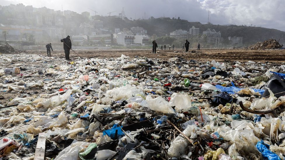 Workers clean the beach of the coastal town of Zouk Mosbeh (Credit: Getty Images)