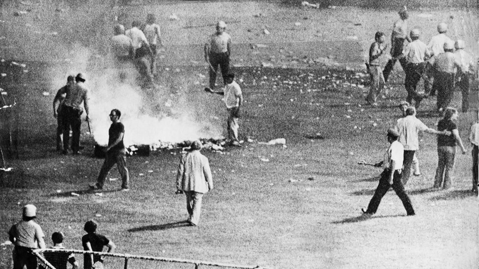 Rock fans brought disco records to be destroyed in an explosion at a Chicago White Sox game in 1979 – 30 people were injured from the blast (Credit: Associated Press)