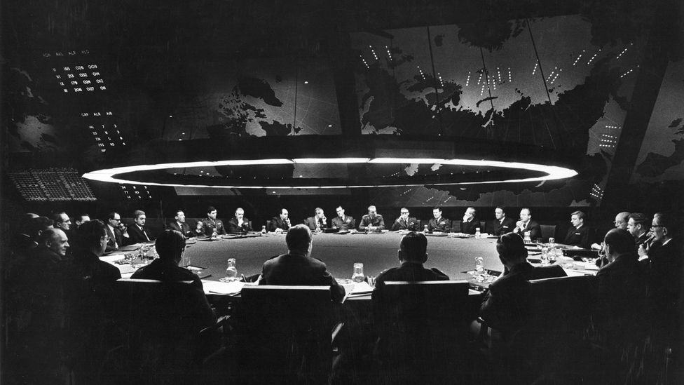 The film shares similarities with Kubrick's Cold War satire Dr Strangelove including the boardrooms packed with middle-aged men in suits (Credit: Alamy)