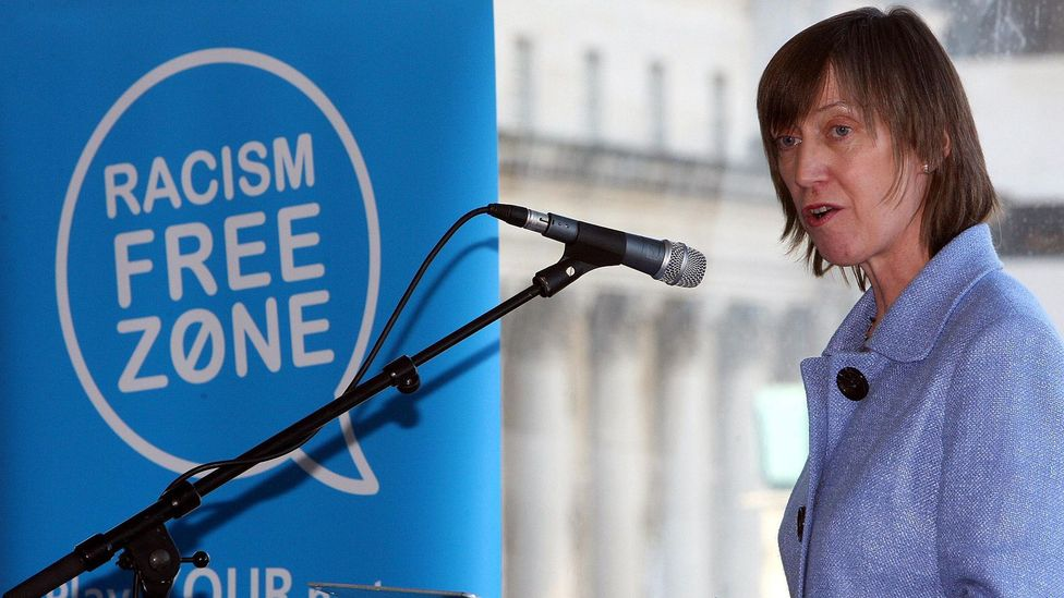A speaker at a rally in Ireland that sought to bring attention to racism in the workplace (Credit: Alamy)