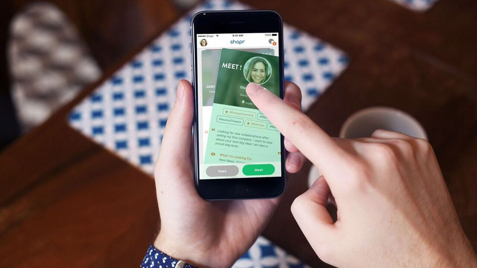 Shapr is one of several apps that take a cue from dating services like Tinder to match you with potential business connections. (Credit: Shapr)
