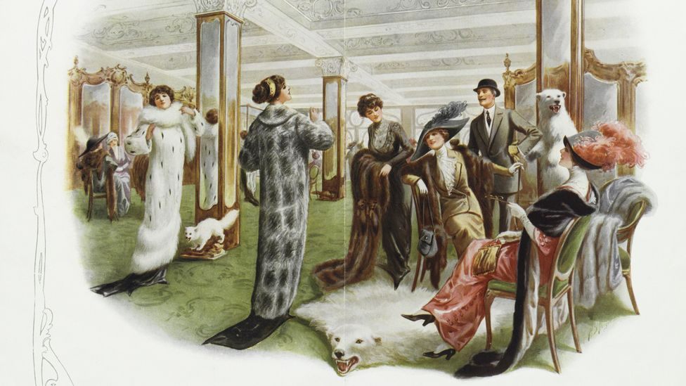 An advertisement for 'London's centre for fashionable peltry',' from around 1901-14, shows how sought-after real fur was (Credit: Victoria and Albert Museum, London)