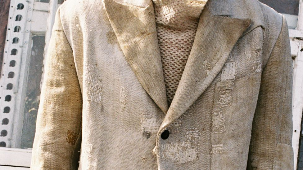 A detail of an outfit by British menswear designer John Alexander Skelton, made from upcycled 19th-Century grain sack (Credit: Ryan Skelton)