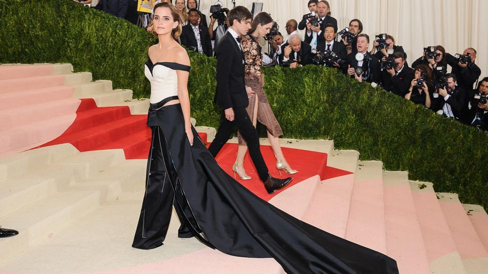 The Calvin Klein dress worn by Emma Watson at the Met Gala was created from recycled plastic bottles (Credit: Alamy)