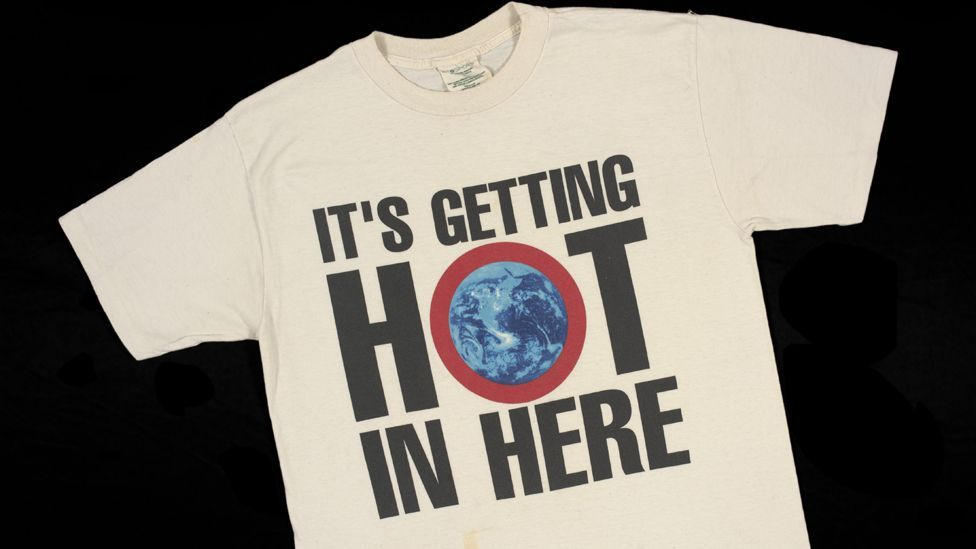 A Greenpeace slogan T-shirt from the 1990s highlights the problem of climate change (Credit: Victoria and Albert Museum, London)