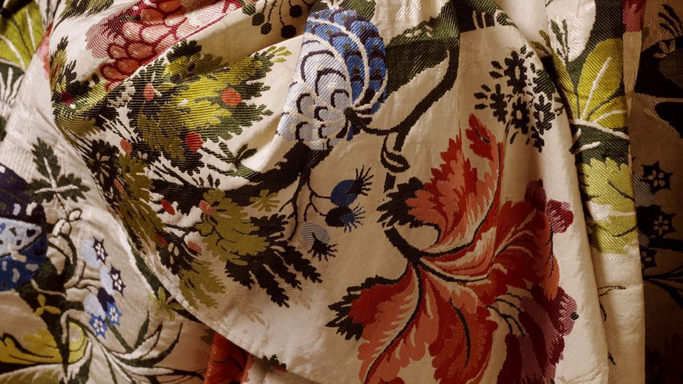 A detail of brocaded silk created in Britain shows how the natural world inspired dressmakers of the 18th Century (Credit: Victoria and Albert Museum, London)