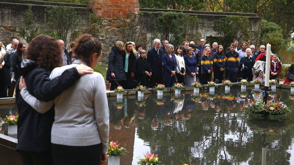 After 35 people were killed at Port Arthur Historic Site, shown here on the 20th anniversary of the event, Australia passed laws to reduce gun ownership (Credit: Getty Images)