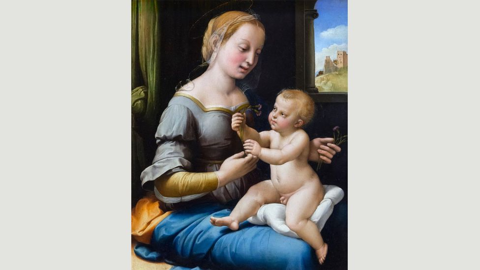 Painted around 1506, Raphael's Madonna of the Pinks introduces carnations – believed to have first appeared at Christ's crufixion – to the infant Jesus (Credit: Wikimedia)