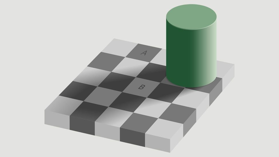 Squares A and B are exactly the same colour – but our brains think otherwise (Credit: Wikimedia Commons)