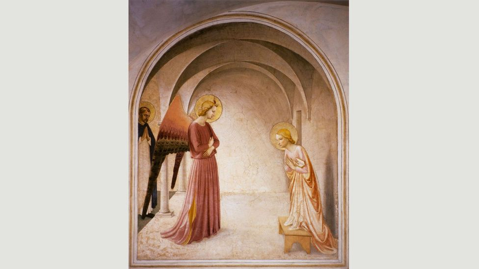 Fra Angelico's fresco in Florence (1439-1444) depicts the archangel Gabriel in pink (Credit: Alamy)