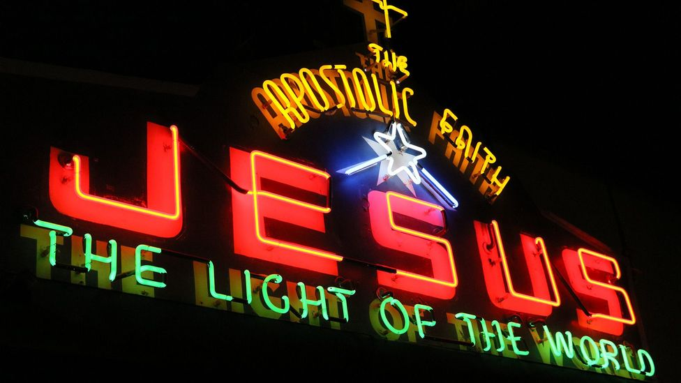 Even Vancouver's churches advertised with neon signs (Credit: Mike MacEacheran)