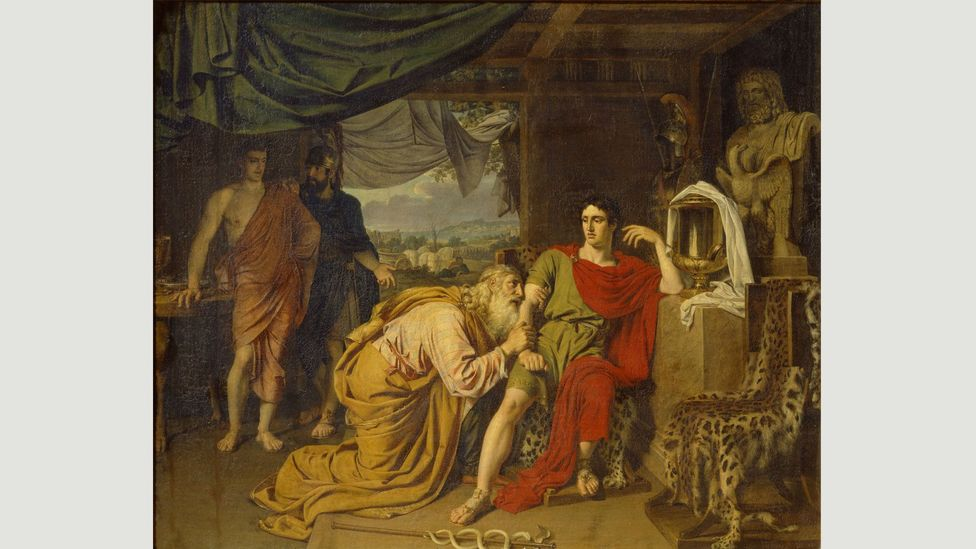 The image of Priam begging Achilles for his son Hector's body has appeared in many artworks – including this 1824 painting by Alexander Andreyevich Ivanov (Credit: Alamy)