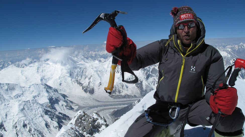 Veikka Gustafsson on the summit of Gasherbrum I (8,080m) in Pakistan. He says he admires the Balti people for their sisu (Credit: Veikka Gustafsson)
