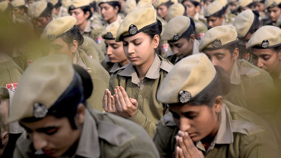 Meditation even has been introduced to combat stress among police women in Punjab, India (Credit: Getty Images)