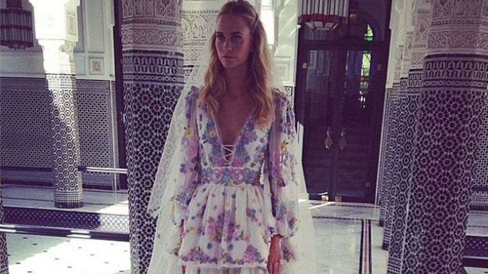Poppy Delevingne got married in an unconventional floral, embroidered wedding gown