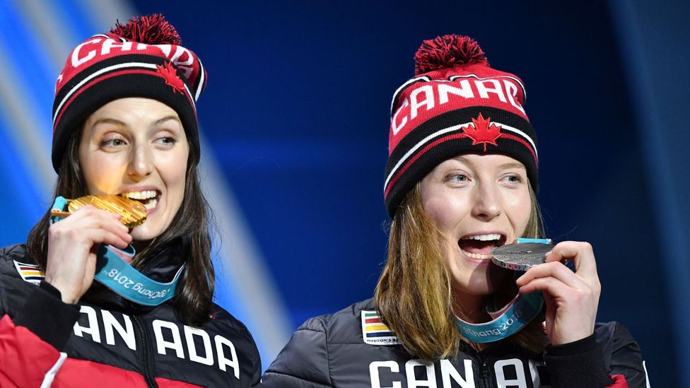 Canada's gold medal-winner Kelsey Serwa and silver winner Brittany Phelan on the podium for Women's Ski Cross at Pyeongchang 2018 Winter Olympic Games (Credit: Getty Images)