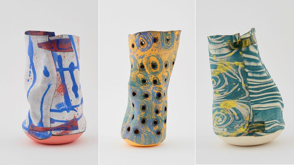 Ranti Bam's 2018 collection of vases is influenced by South African textile design, left to right: Inos; Igbo; Fete ( Credit: Ranti Bam/50 Goldborne)