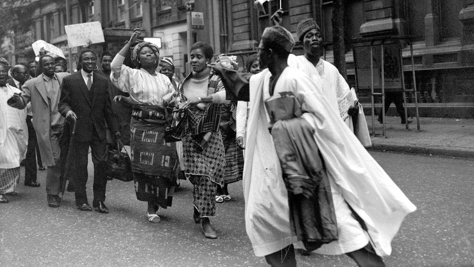 Nigeria won its independence from the United Kingdom in 1960, and students cheered the news outside Nigeria House in London (Credit: Getty Images)