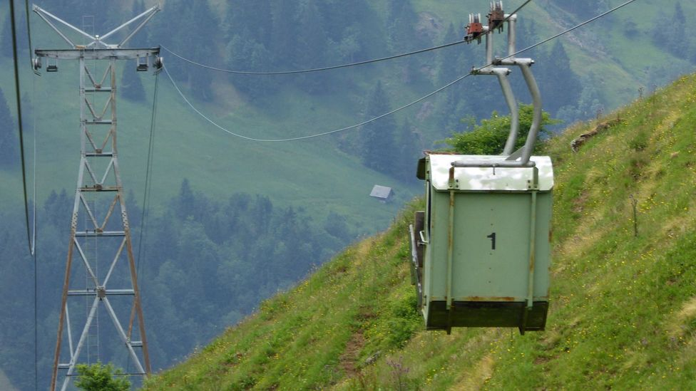 A cable car in Engelberg Valley, Switzerland
