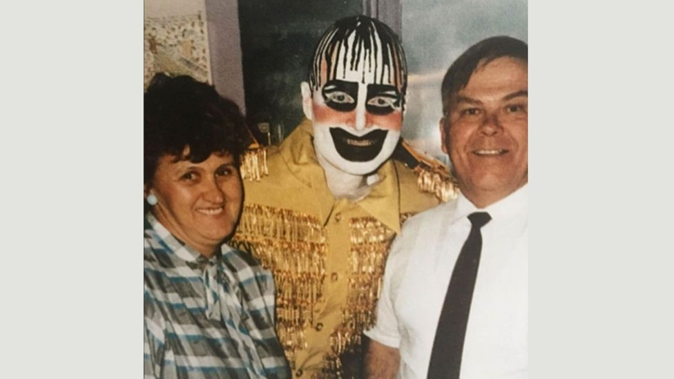 Tilley was close friends with the Australian performance artist and club promoter Leigh Bowery – here photographed with his parents Evelyn and Thomas, 1984 (Credit: Sue Tilley)