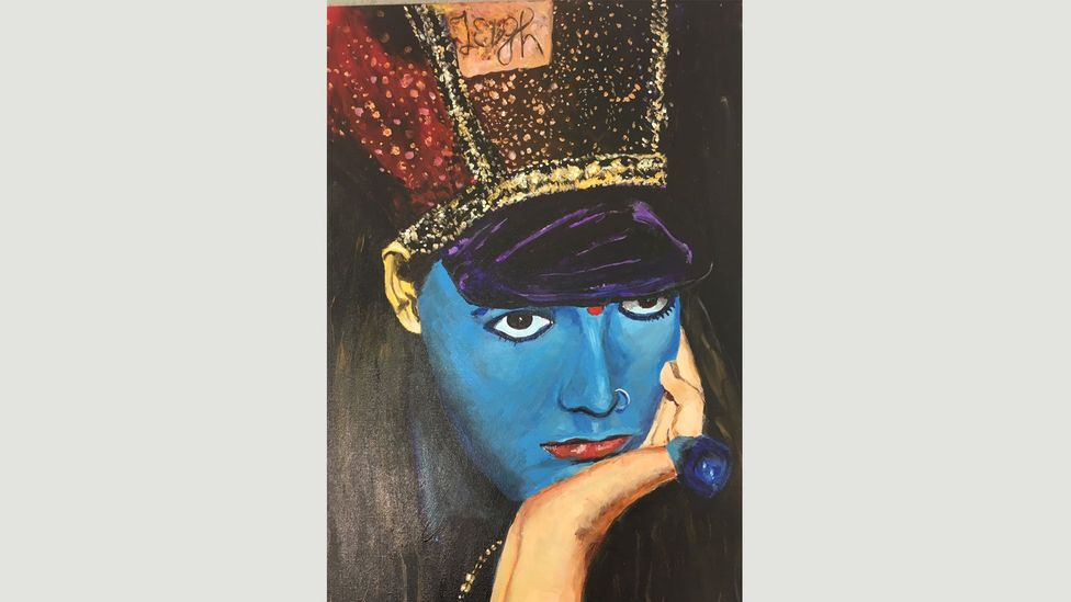 Tilley has been painting for years: this 2016 image shows Trojan, one of the people in Leigh Bowery's circle in the 1980s (Credit: Sue Tilley)