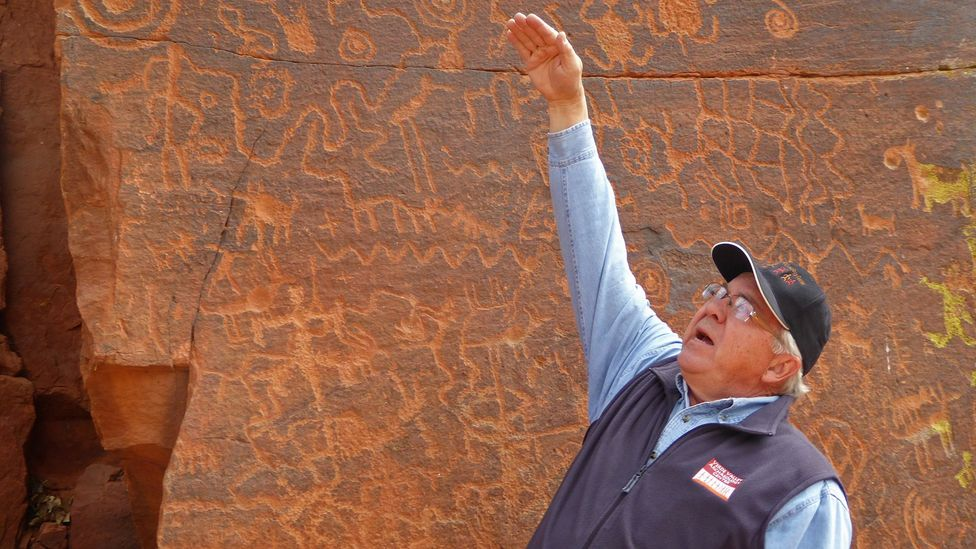 Kenneth Zoll kept careful records of how the sun and the shadows fell over the petroglyphs of the V Bar V historical ranch site (Credit: Larry Bleiberg)