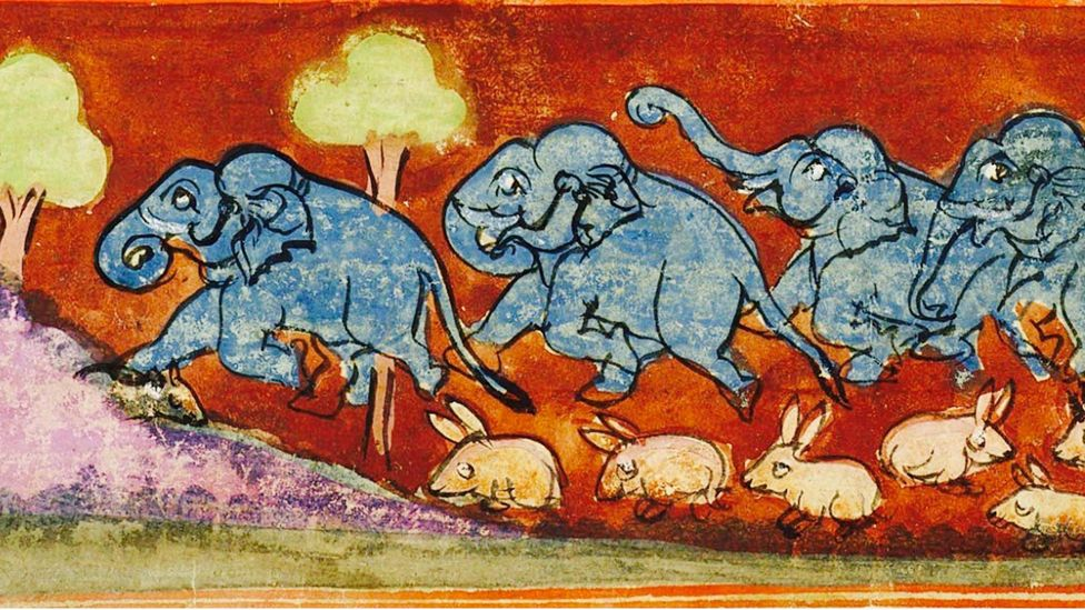The Panchatantra has been illustrated countless times, including in this 18th Century watercolour of elephants trampling hares created in Rajasthan (Credit: Alamy)