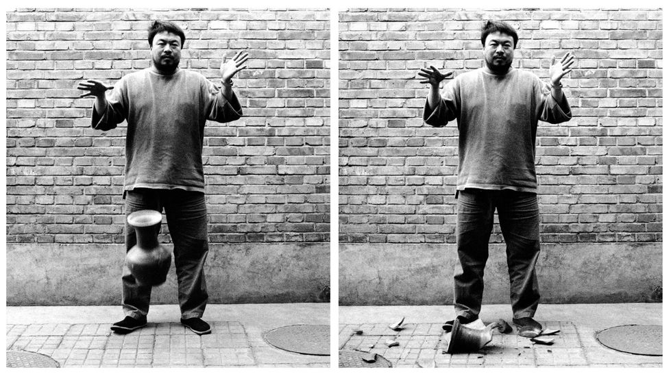 Ai Weiwei dropped a 2,000-year-old Han dynasty vase for a photograph in 1995 – and he has painted others, arguably an act of vandalism (Credit: Ai Weiwei)