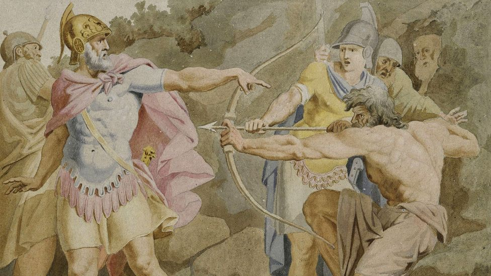 Rather than seeking adventure, The Odyssey is about a man returning home (pictured, Philoctetes aiming the bow of Hercules at Odysseus by Asmus Jacob Carstens) (Credit: Alamy)