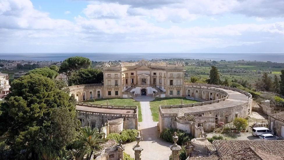 Overhead view of the Villa Valguarnera near Palermo, Italy