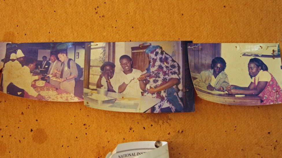 Faded photographs of memories of the past on the laboratory wall (Credit: Rachel Nuwer)