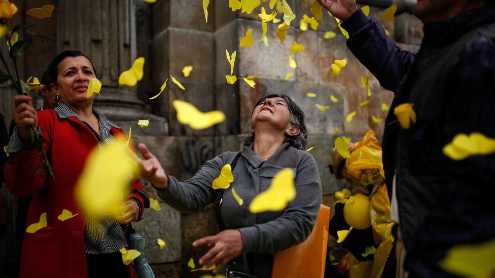 Yellow butterflies featured in 100 Years, and were a way of mourning García Márquez after his death in 2014 – such as in Bogotá, pictured (Credit: Alamy)