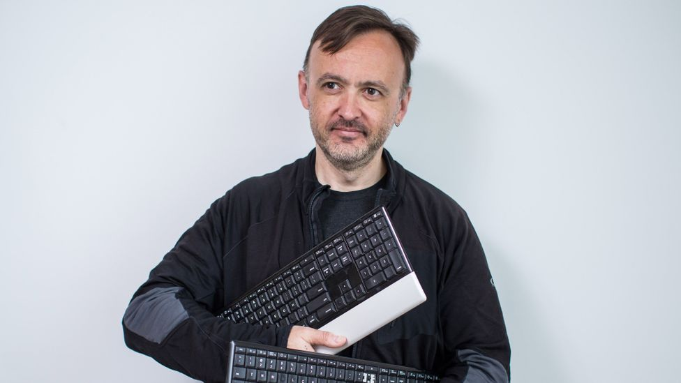 TNWMLC requires seriously flexible digits. It's 87% more difficult than using a standard Qwerty keyboard, according to Martin Krzywinski, who created it (Credit: Ben Nelms)