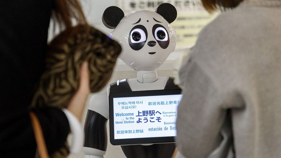 Robots, like this one from Japanese cell phone company SoftBank, use multilingual interfaces and promote multilingual environments (Credit: Alamy Stock Photo)