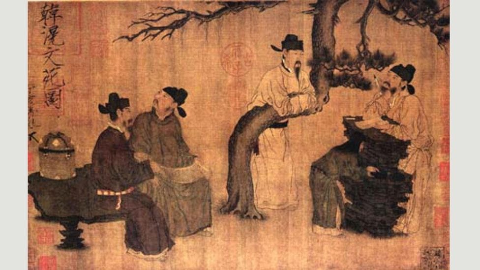 Zhou Wenju's A Literary Garden (10th Century) showed a group of the literati class in China (Credit: Alamy)